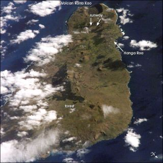 Easter Island as seen by astronauts aboard the International Space Station on Sept. 25, 2002.