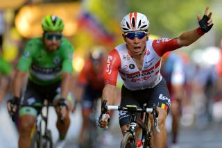 Lotto Soudal sprinter Caleb Ewan's expression is a combination of disbelief and relief as he takes his first Tour de France stage victory on stage 11 of the 2019 edition of the race
