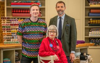 Esme Young, Patrick Grant and Joe Lycett on the Great British Sewing Bee 2021 series 7