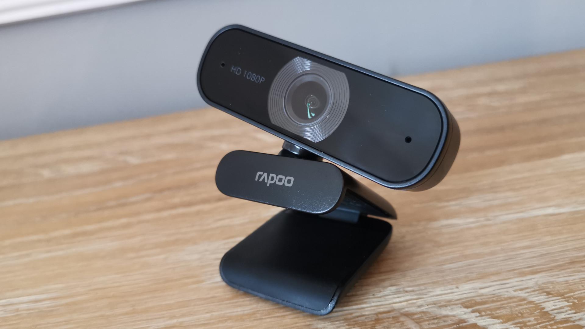 The Rapoo XW180 webcam on a table