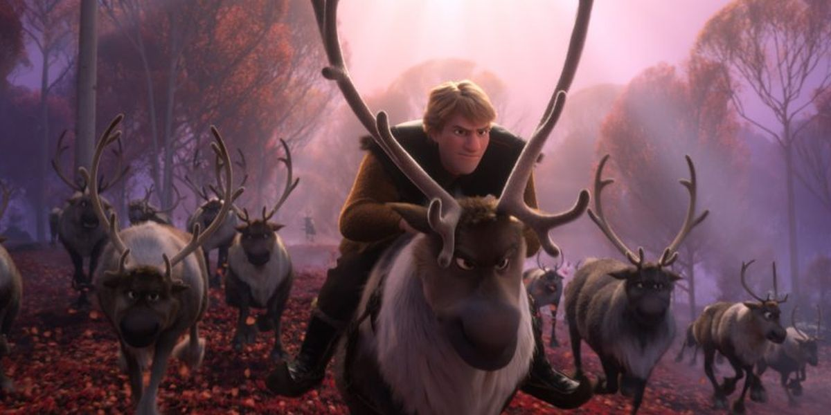 Kristoff on Sven in Frozen II