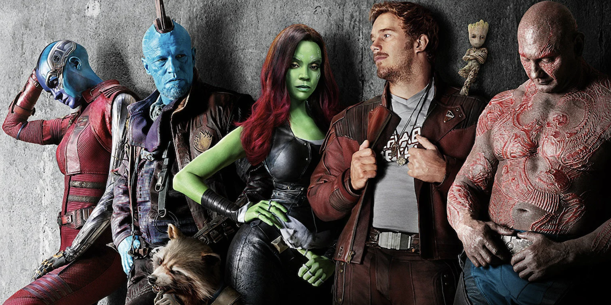 Nebula, Yondu, Gamora, Star-Lord, Groot and Drax lean against a wall dramatically in a promotional i