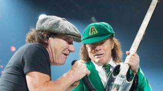 Brian Johnson and Angus Young onstage in 2016