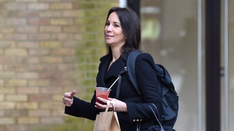 Andrea McLean seen outside the ITV Studios carrying a drink and brown takeaway bag