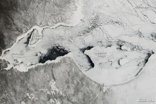 In this NASA satellite taken on April 6, sea ice covers most of Canada's Hudson Bay and snow blankets the surrounding land.