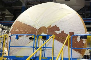 Orion heat shield on display