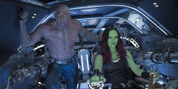 Drax and Gamora riding through space