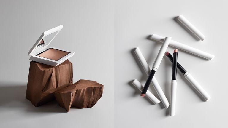Collage of ZARA make-up including bronzer and lipsticks