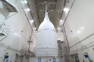 NASA's Orion spacecraft, shown here encapsulated in its fairing, is ready for its Nov. 11, 2014 move from the agency's Kennedy Space Center in Florida to Space Launch Complex 37 at the next-door Cape Canaveral Air Force Station. Orion is slated to launch