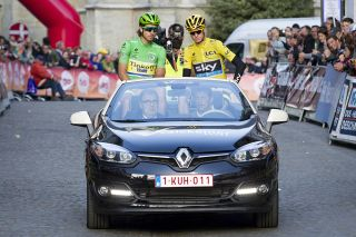 Stars Peter Sagan and Chris Froome get a lap in the pace car in Natourcriterium Aalst