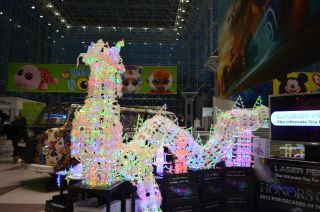 A dragon made of Laser Pegs LED light-up blocks was on display in the lobby at Toy Fair 2013.