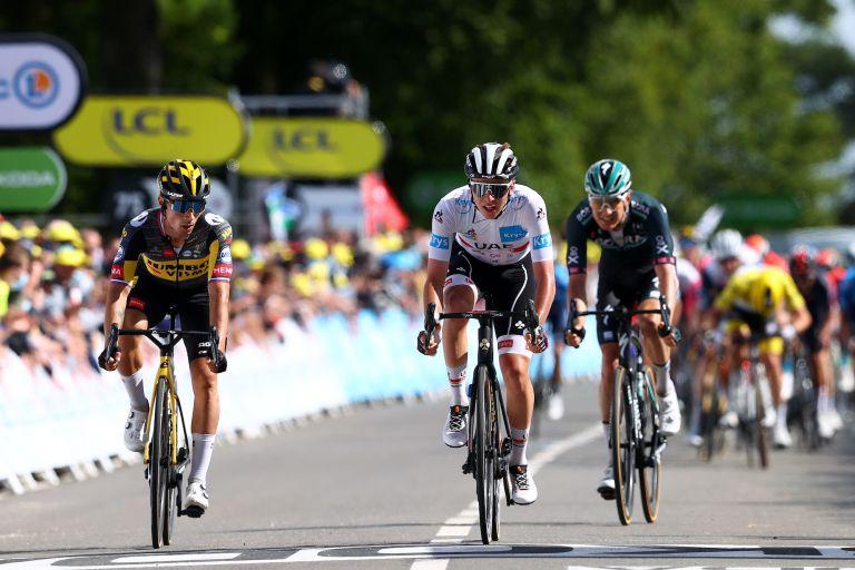 Primoz Roglic and Tadej Pogacar on stage two of the 2021 Tour de France