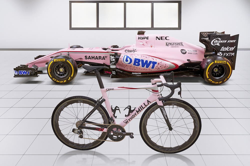 The bike pictured next to the Sahara Force India car