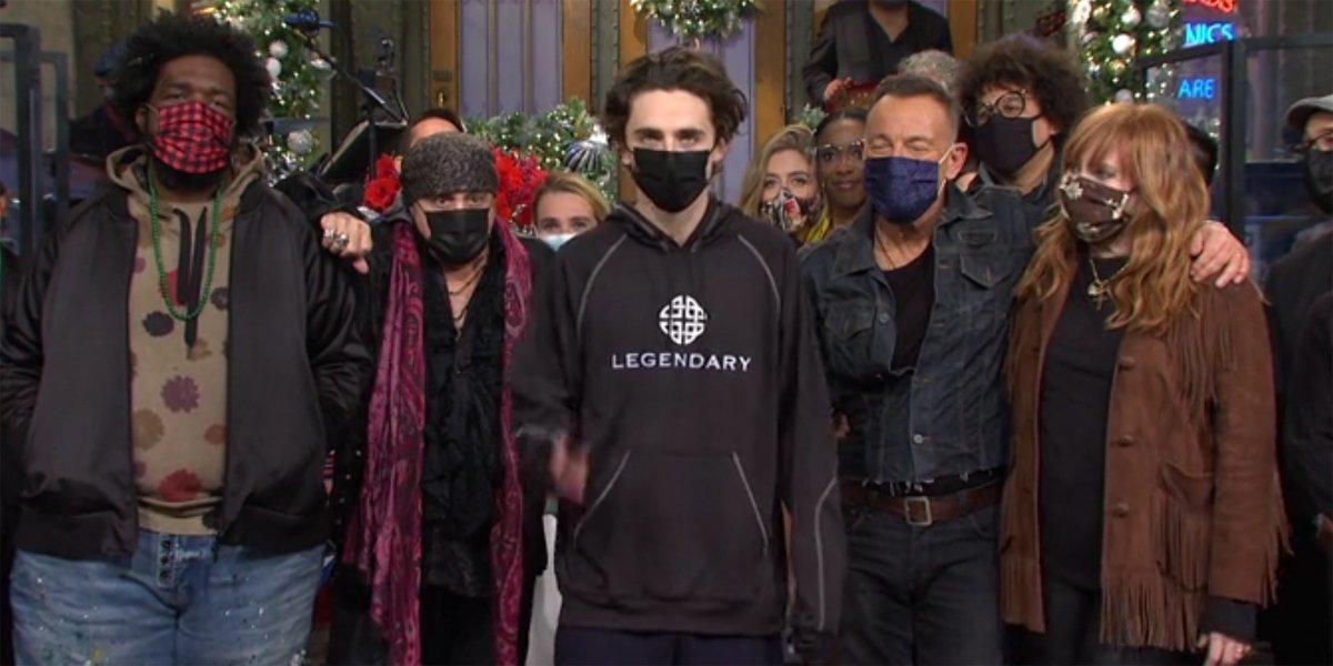 Timothee Chalamet Legendary hoodie hosting Saturday Night Live
