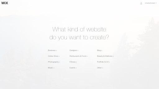 page d'accueil wix