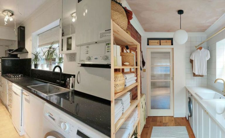 Before and after: galley kitchen becomes utility room
