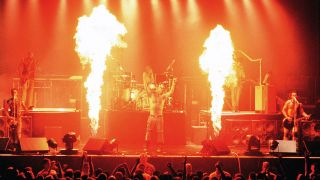 Till Lindemann and Rammstein perform as part of The Pledge of Allegiance Tour 2001at Cox Arena on September 30, 2001 in San Diego California