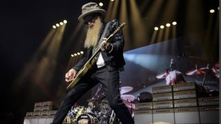 Billy Gibbons plays live on stage with a wall of Magnatone guitar amps