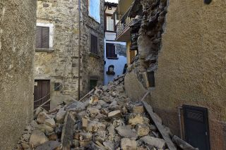 Damaged buildings in Arquata del Tronto, Italy, following a massive earthquake on Oct. 30, 2016.