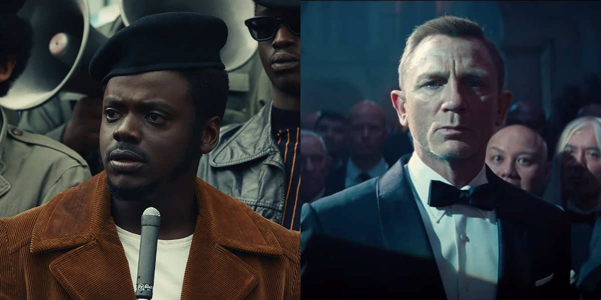 Daniel Kaluuya in Judas and the Black Messiah and Daniel Craig in No Time To Die side by side