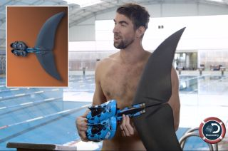 "During a race with a great white shark, for the Discovery Channel's ""Shark Week,"" Michael Phelps will sport a shark tail — a high-tech monofin."