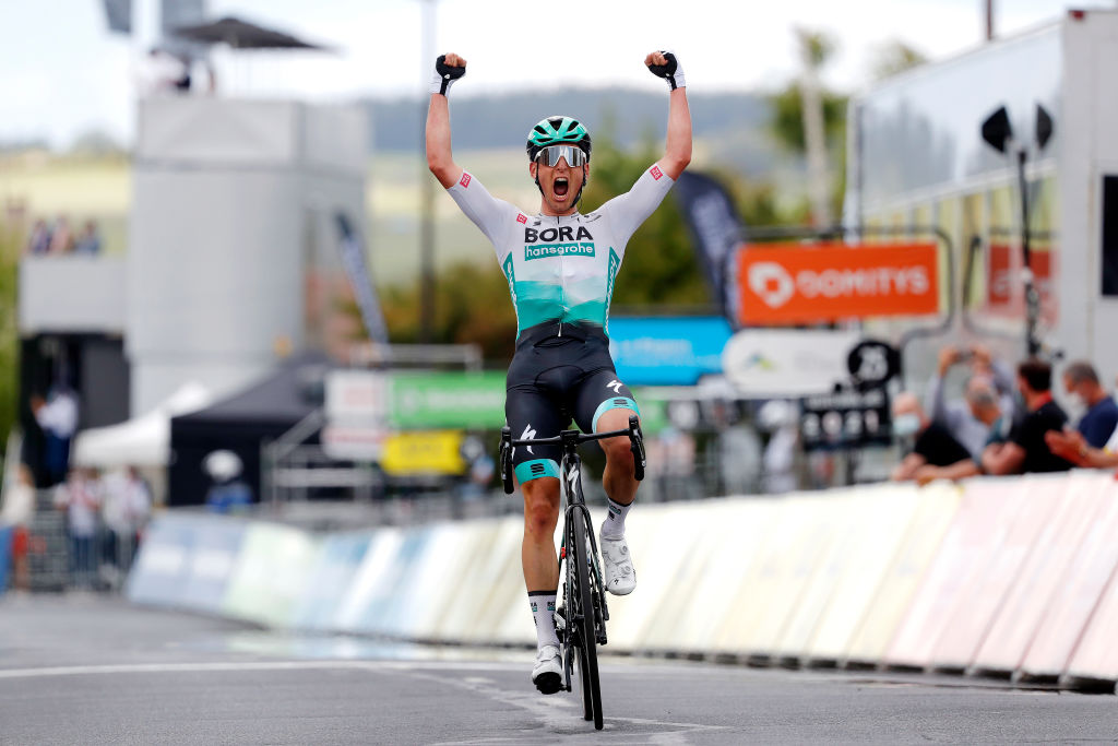 SAUGUES FRANCE MAY 31 Lukas Pstlberger of Austria and Team Bora Hansgrohe stage winner celebrates at arrival during the 73rd Critrium du Dauphin 2021 Stage 2 a 1728km stage from Brioude to Saugues 935m UCIworldtour Dauphin on May 31 2021 in Saugues France Photo by Bas CzerwinskiGetty Images