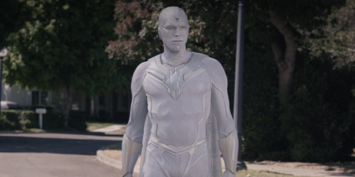 Paul Bettany as White Vision on WandaVision