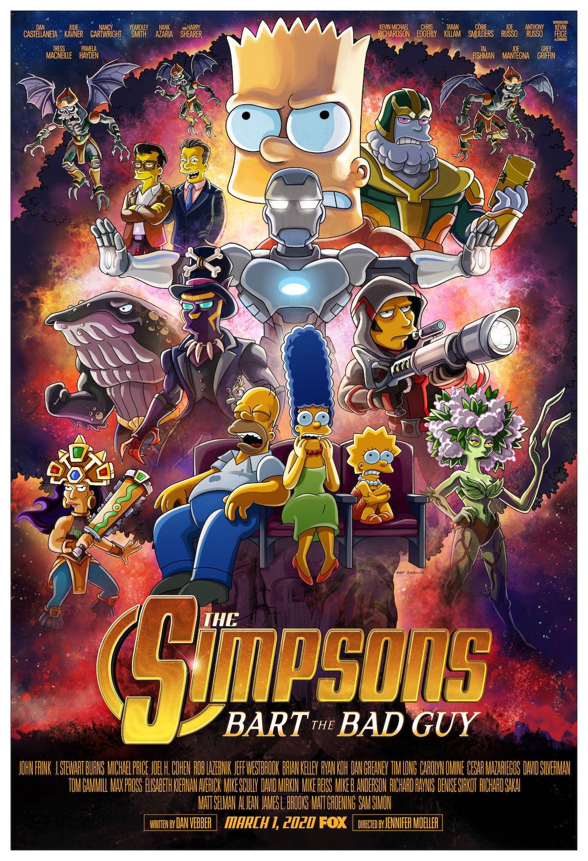 the simpsons avengers endgame parody poster