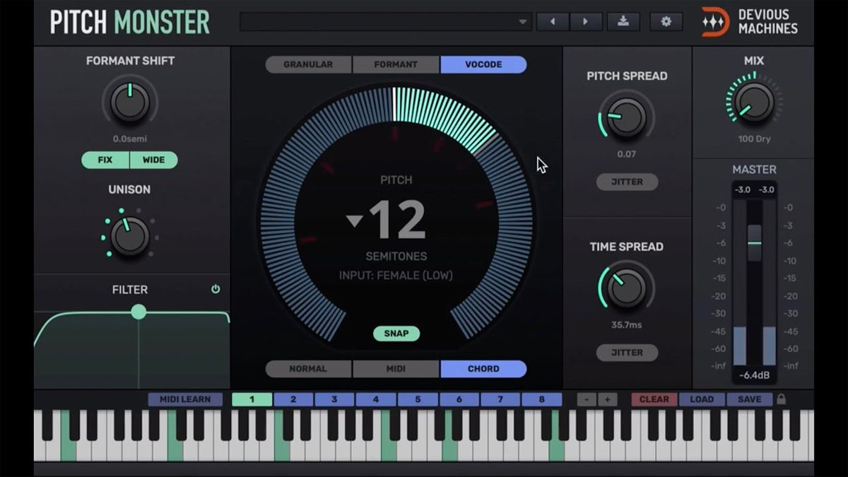 Devious Machines' Pitch Monster plugin can create big harmonies or completely change your voice