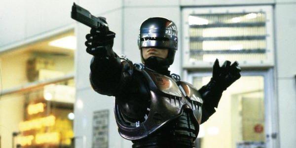 Robocop movie pointing gun
