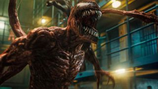 The creature Venom roars in Venom: Let There Be Carnage
