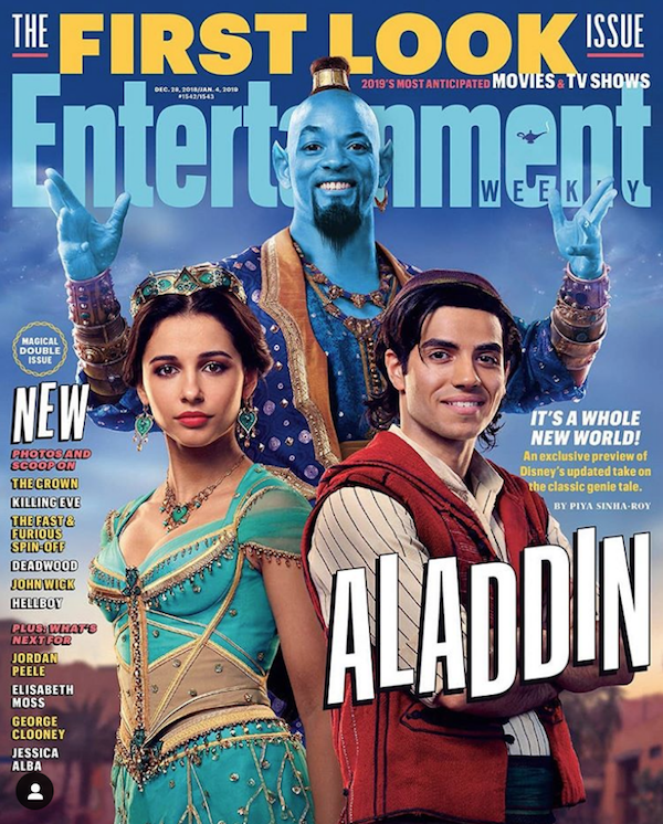 Will Smith as the blue genie fan art in 2019 live-action film with Naomi Scott as Jasmine and Mena M