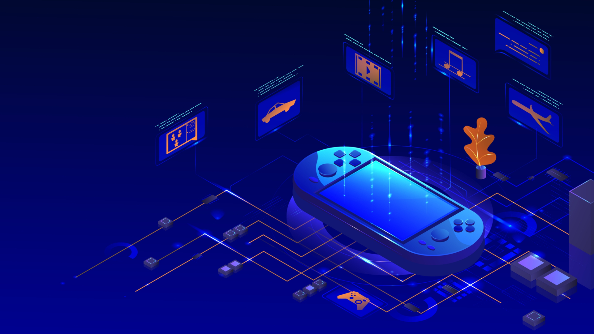 vector isometric illustration of a handheld gaming console
