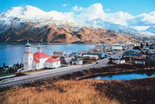 A Department of Transportation photo captures Unalaska, part of Alaska's Aleutian Islands.