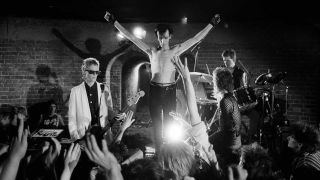 Bauhaus on the set of the Ziggy Stardust video
