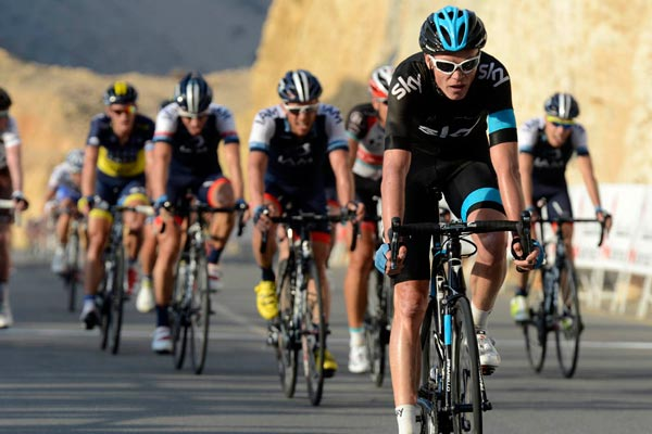 Chris Froome finishes stage three, Tour of Oman 2013