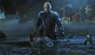 Friday The 13th The Game Jason Vorhees stepping out of a lake