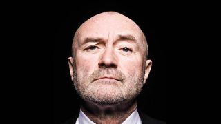 Phil Collins against a black background