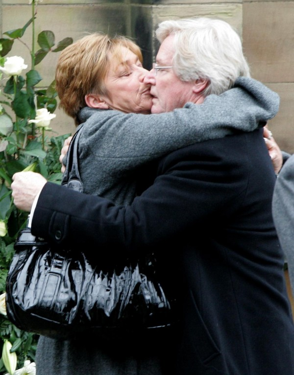 2009,  Anne Kirkbride, who played Deirdre Barlow, hugging her on screen husband Bill Roache (Dave Thompson/PA)