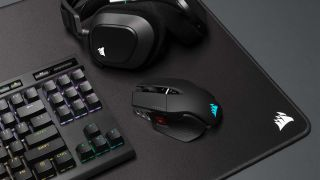 Corsair M65 RGB Ultra Wireless on desk