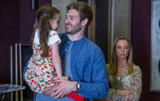 Jamie Tate in Emmerdale with his young daughter, Millie Tate