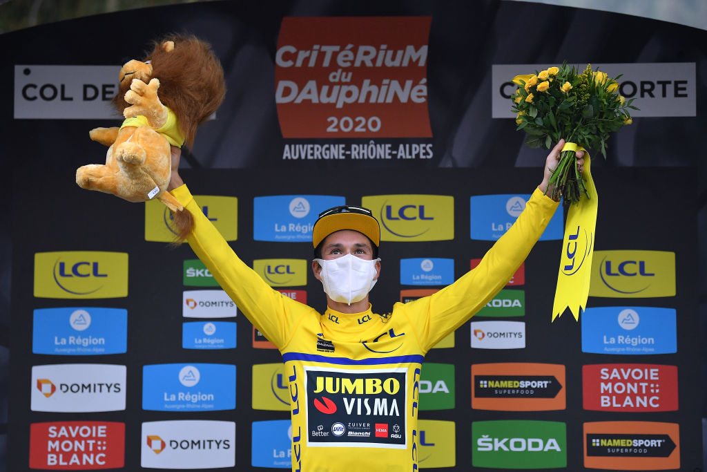 CHARTREUSE FRANCE AUGUST 13 Podium Primoz Roglic of Slovenia and Team Jumbo Visma Yellow Leader Jersey Celebration during the 72nd Criterium du Dauphine 2020 Stage 2 a 135km stage from Vienne to Col de PorteChartreuse 1316m dauphine Dauphin on August 13 2020 in Chartreuse France Photo by Justin SetterfieldGetty Images