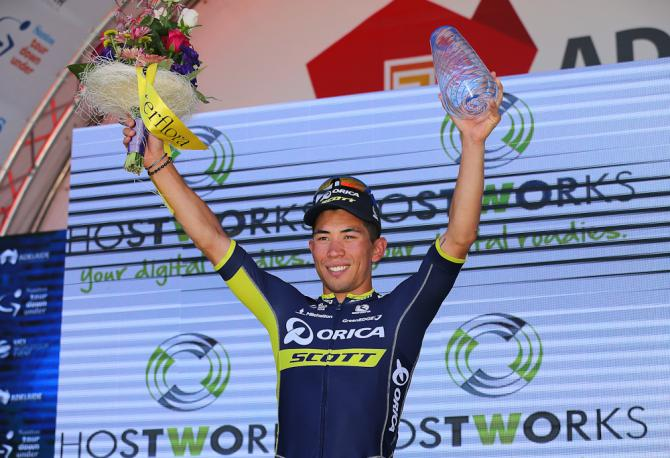 Caleb Ewan on the podium after winning stage 1 at the Tour Down Under.
