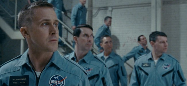 First Man Ryan Gosling as Neil Armstrong looking stern