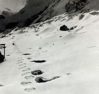 The abominable snowman, or yeti, reportedly created these footprints, captured in a photo taken during an expedition to Mount Everest more than 50 years ago.