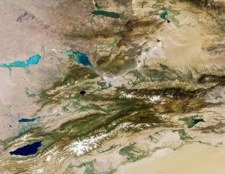 The Tian Shan Mountains as seen by the European Space Agency's Envisat satellite in September 2011.