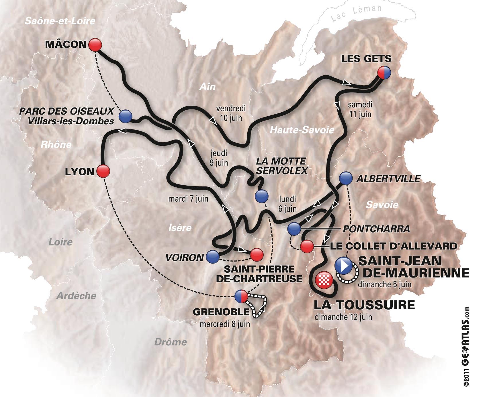 Critérium du Dauphiné 2011 map