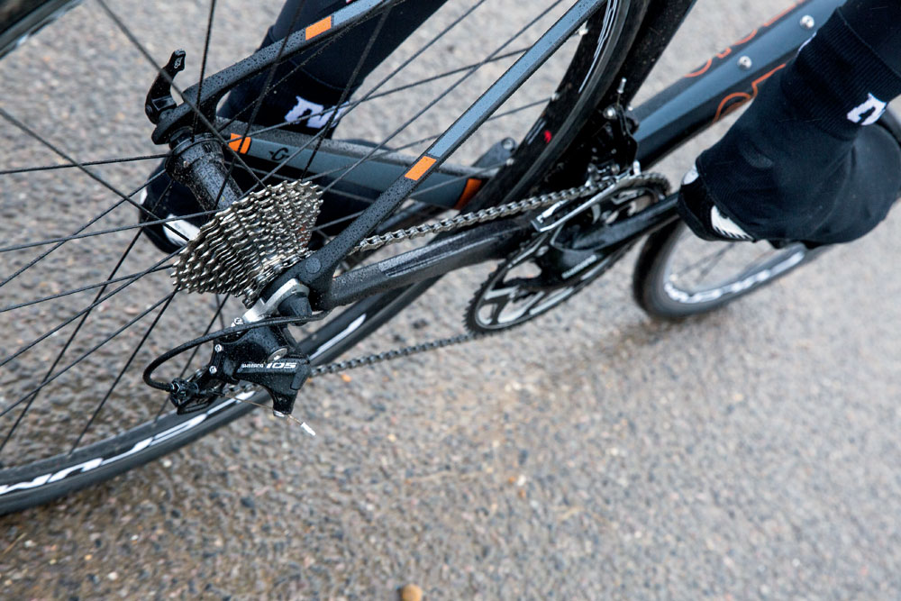 Use big gear efforts to break up a long ride, and increase your power output. Photo: Daniel Gould.