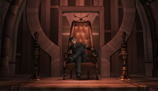 Leon sits on a throne in Resi 4.