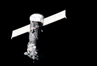 An uncrewed Russian Progress freighter approaches the International Space Station on July 1, 2021.